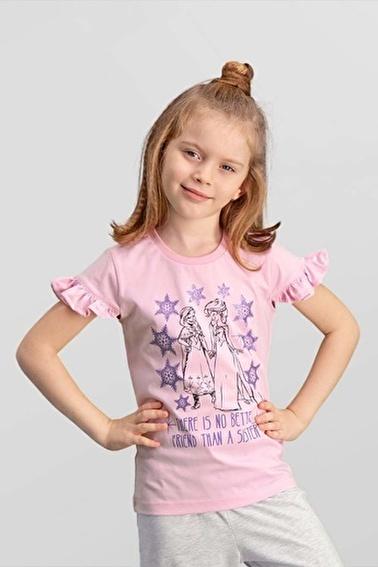 Frozen Karlar Ülkesi Elsa - Frozen Lisanslı Açık Gri Kız Çocuk T-Shirt Pembe